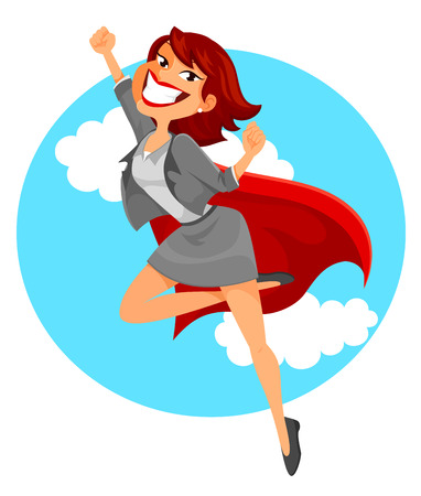 business woman with a superheros cape flying in the sky