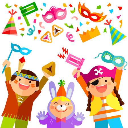 gelukkige kinderen vieren Purim met kostuums en aanverwante artikelen