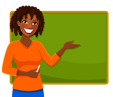 teacher classroom: happy teacher of African ethnicity standing next to a blackboard