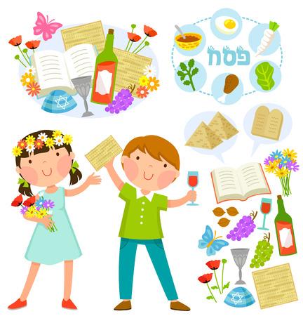 set van Pesach illustraties met kinderen en bijbehorende symbolen