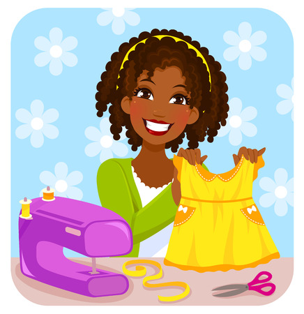 african woman at work: young woman sewing a dress for a little girl Illustration