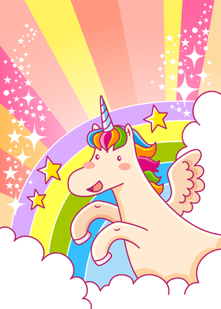 cartoon unicorn flying over the rainbow with glitters and space for text