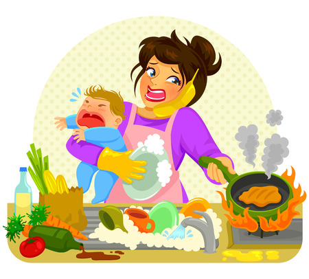 ni�os cocinando: destac� la mujer joven que hace muchas tareas en posesi�n de un beb� que llora