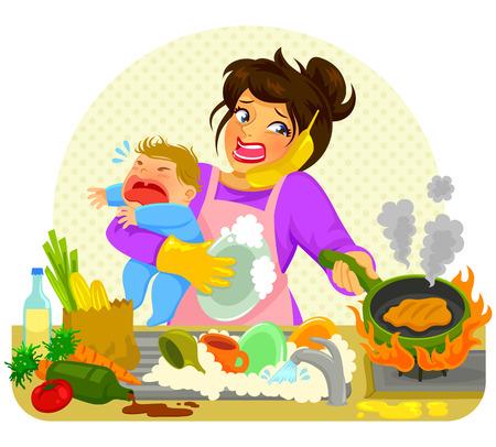 bambino che piange: sottolineato giovane donna che fa molte attività mentre si tiene un bambino che piange