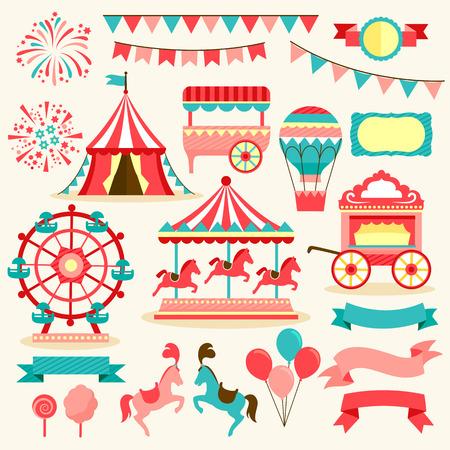 Sammlung von Elementen im Zusammenhang mit Karneval und Zirkus