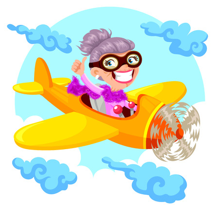 active seniors: cartoon old lady flying an airplane