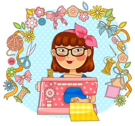 fille en utilisant une machine à coudre entourée d'articles connexes Vecteurs