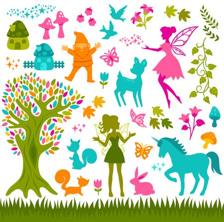 森林やおとぎ話に関連するカラフルなシルエット