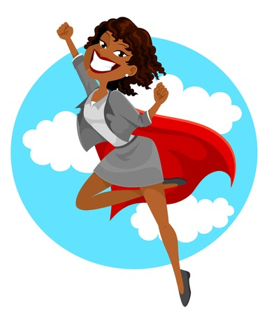 aspirations: dark skinned business woman with a superheros cape flying in the sky Illustration