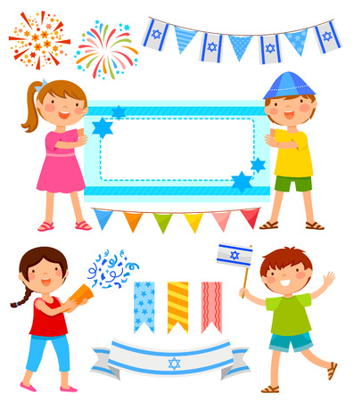 for text: set of cartoons for Israels Independence Day