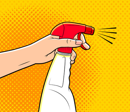 comics style illustration of a hand holding cleaning spray
