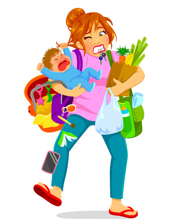 stressed woman carrying a crying baby and a lot of luggage Ilustração
