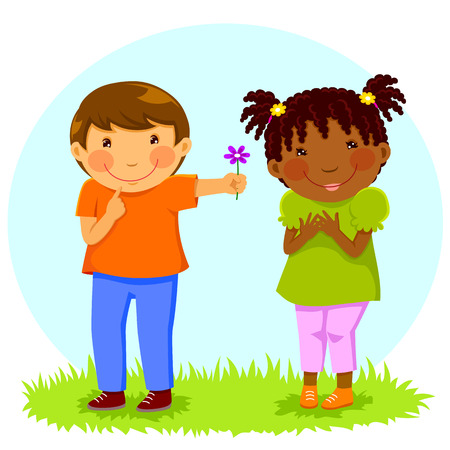 Caucasian boy gives a flower to an African girl 矢量图像