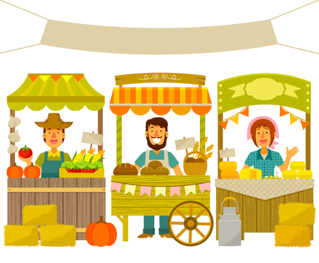 farmer's market  market: farmers selling their products on wooden stalls