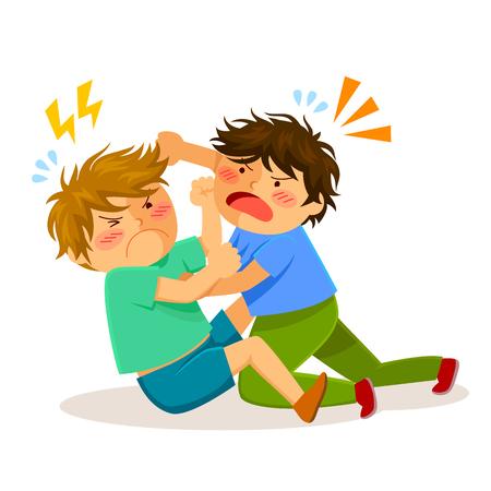 zwei Jungen einander auf einem Kampf schlagen