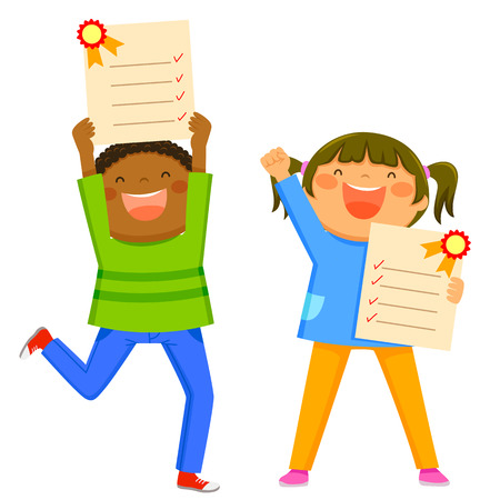 Happy kids holding their excellent report cards Banco de Imagens - 60746402
