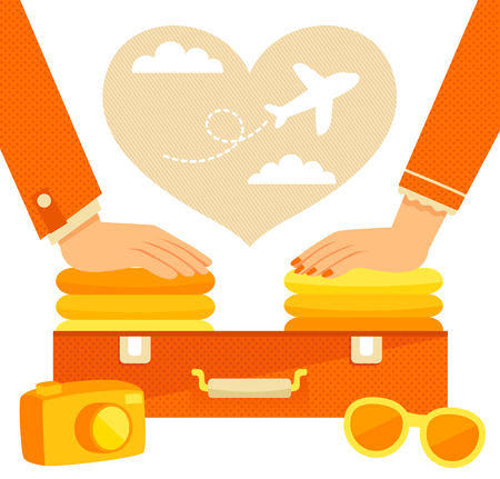 packing suitcase: man and woman packing a suitcase for a vacation Illustration