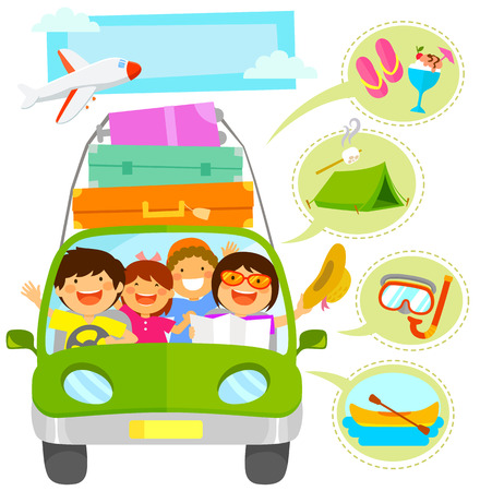travelling: family traveling in a car plus icons related to vacation