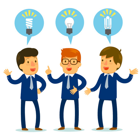 meet: three businessmen bringing up different ideas Illustration