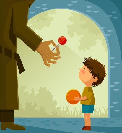 niños saludo: extraño sospechoso ofrece caramelos a un niño pequeño