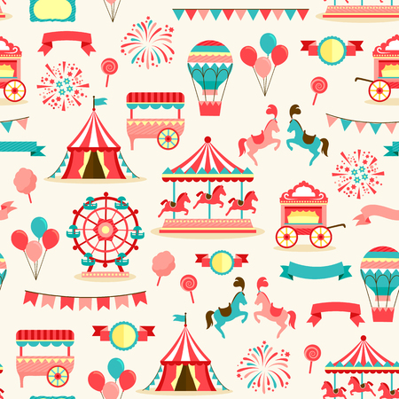 seamless pattern with vintage carnival elements