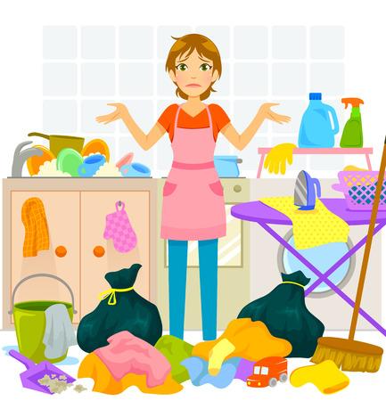 若い女性もあまり家事に圧倒されます。  イラスト・ベクター素材
