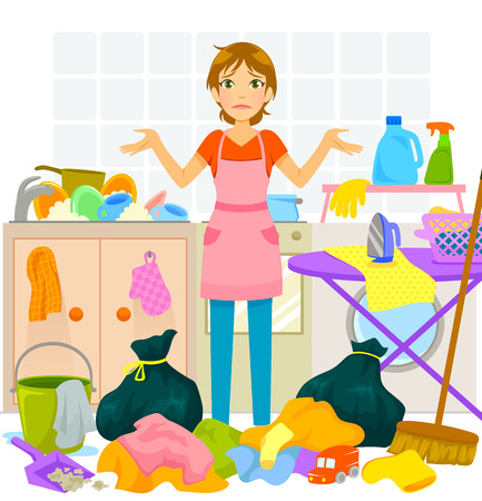 helpless: young woman overwhelmed by too much housework