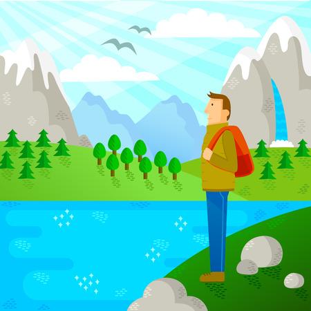 persona viajando: persona con mochila de viaje en la naturaleza Vectores