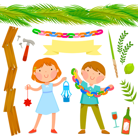 set of Sukkot symbols with two kids and seamless palms roof Illustration