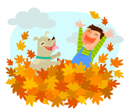 exciting: Boy and his dog playing in a pile of autumn leaves