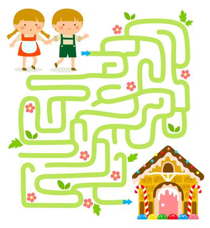 casita de dulces: Laberinto. Hansel y Gretel encuentran la casa de pan de jengibre.