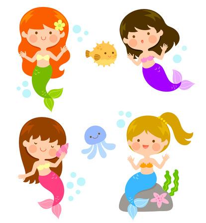 vier leuke cartoon zeemeerminnen onder de zee Stock Illustratie