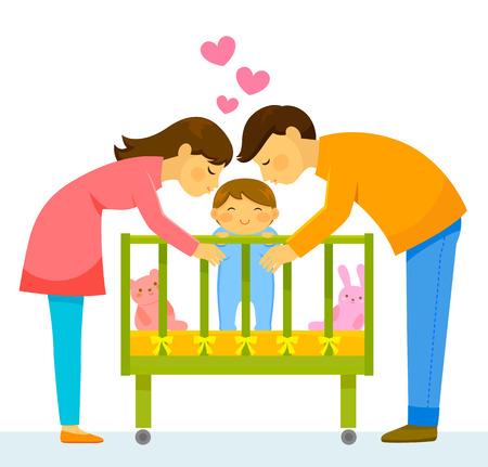 vader en moeder die hun baby kussen Stock Illustratie