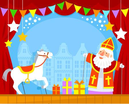 Puppenspiel mit Sinterklaas und seinem weißen Pferd Standard-Bild - 64665015