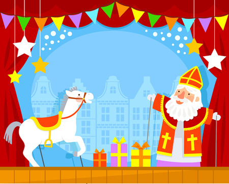 puppet show with Sinterklaas and his white horse 版權商用圖片 - 64665015