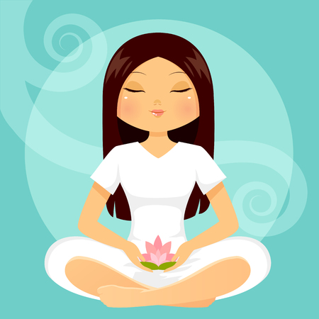 legs crossed: girl meditating with a lotus flower in her hands