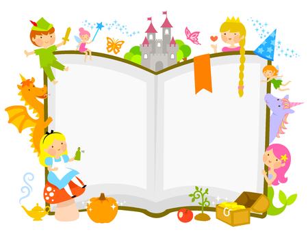 Bohaterowie bajek wokół otwartej książki