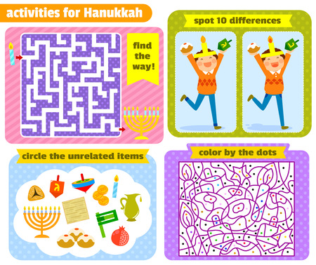 hanukah: set of activities for children related to Hanukah