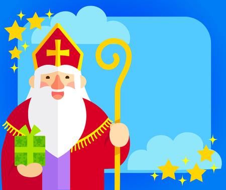 copy: flat illustration of Sinterklaas with copy space Illustration