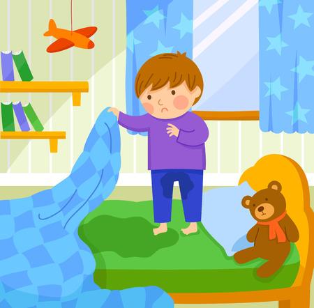 彼はベッドを濡らす心配して少年を見つける