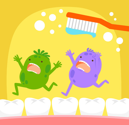 tooth cleaning: Cartoon germs running away from toothbrush