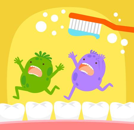 dientes sanos: gérmenes de dibujos animados huyendo de cepillo de dientes