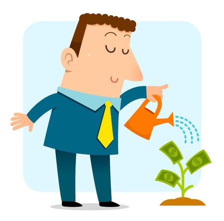 hombre de negocios que riega un árbol joven que crece el dinero