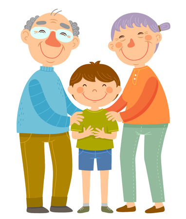 lovingly: happy grandparents standing with their grandson Illustration