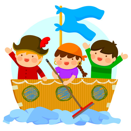 imaginative kids playing pirates with cardboard ship and a floor wiper Illustration