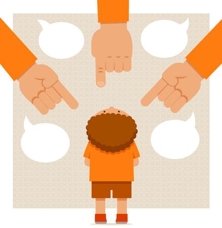 Chłopiec stoi pod wielkim ręce wskazując dorosłych Ilustracje wektorowe