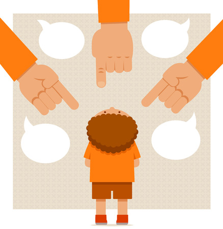 little boy standing under big pointing hands of adults