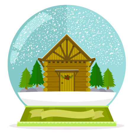 winter tree: flat illustration of wooden cabin in a snow globe with a blank label