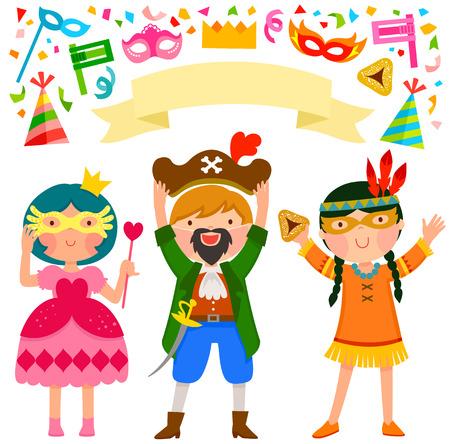 fijne kinderen die Purim met kostuums en aanverwante artikelen vieren