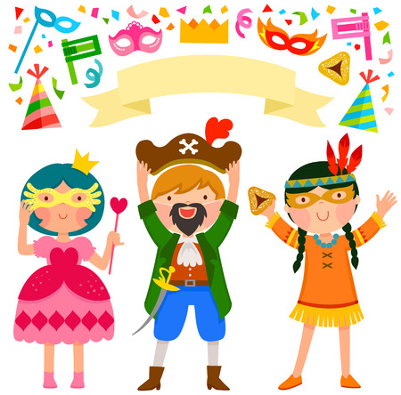 happy kids celebrating Purim with costumes and related items